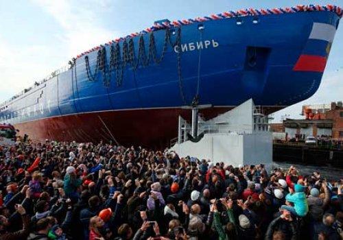 Спуск атомного ледокола «Сибирь»